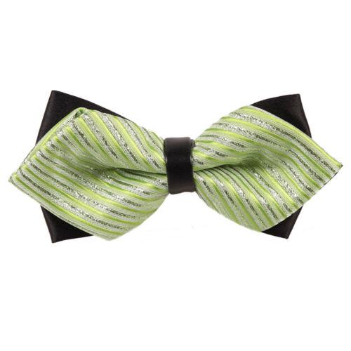 Comme neuf Green Silver fine rayures Diamond Tip pour homme Pre-Tied Bow Tie par DQT