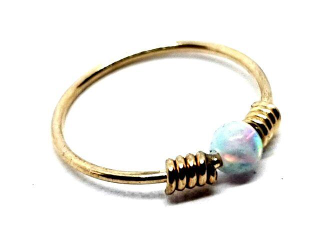 Nose Ring Opal 9k Gem Hoop Spring Coil End 22g 0 6mm 8mm Solid
