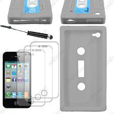 Coque SiliconeCassette Gris Apple iPhone 4S 4+Mini Stylet+3 Film écran
