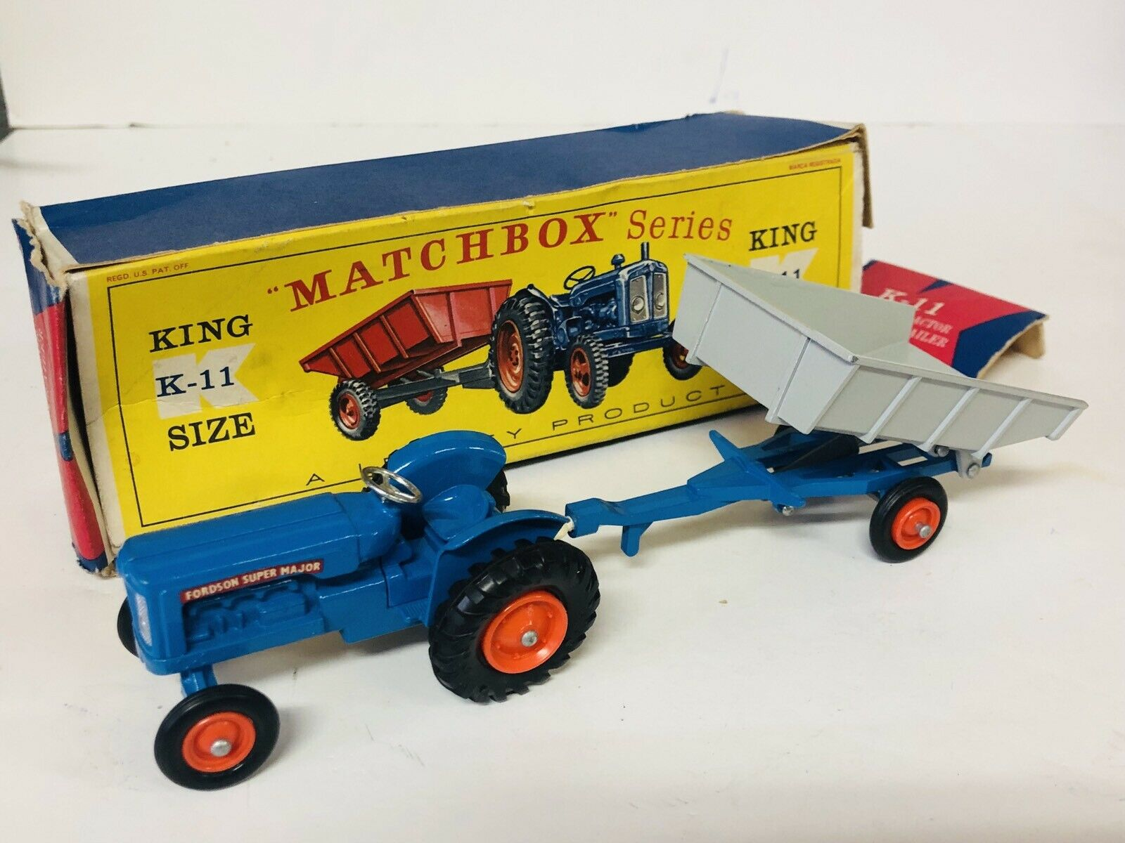 Matchbox Lesney K-11 FORDSON TRACTOR  FARM TRAILER En Caja Original ALL ORIGINAL