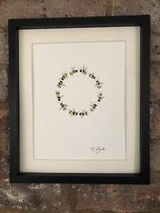 Bumble Bees Circle Original Signed Art Watercolour Painting, Not A Print, Gift