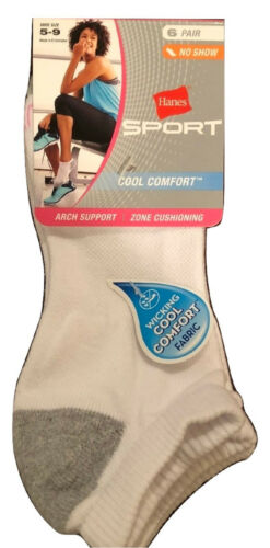 sz 8-12 Hanes Women/'s Cool and Dry ComfortBlend NO SHOW Socks 6-Pack