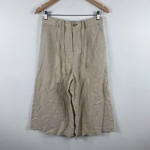 Uniqlo-Womens-Pants-Size-Medium-W28-29-Beige-Wide-Leg-Linen-Blend-3-4-Length