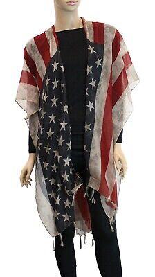 Women/'s Open Sleeveless Poncho USA American Flag Patriot Summer Spring Scarf