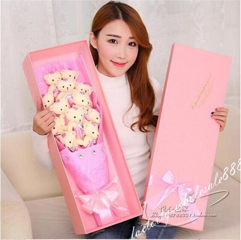 12pcs Teddy Bear Plush Toys Doll Flowers  With Box Xmas Birthday Creative Gifts