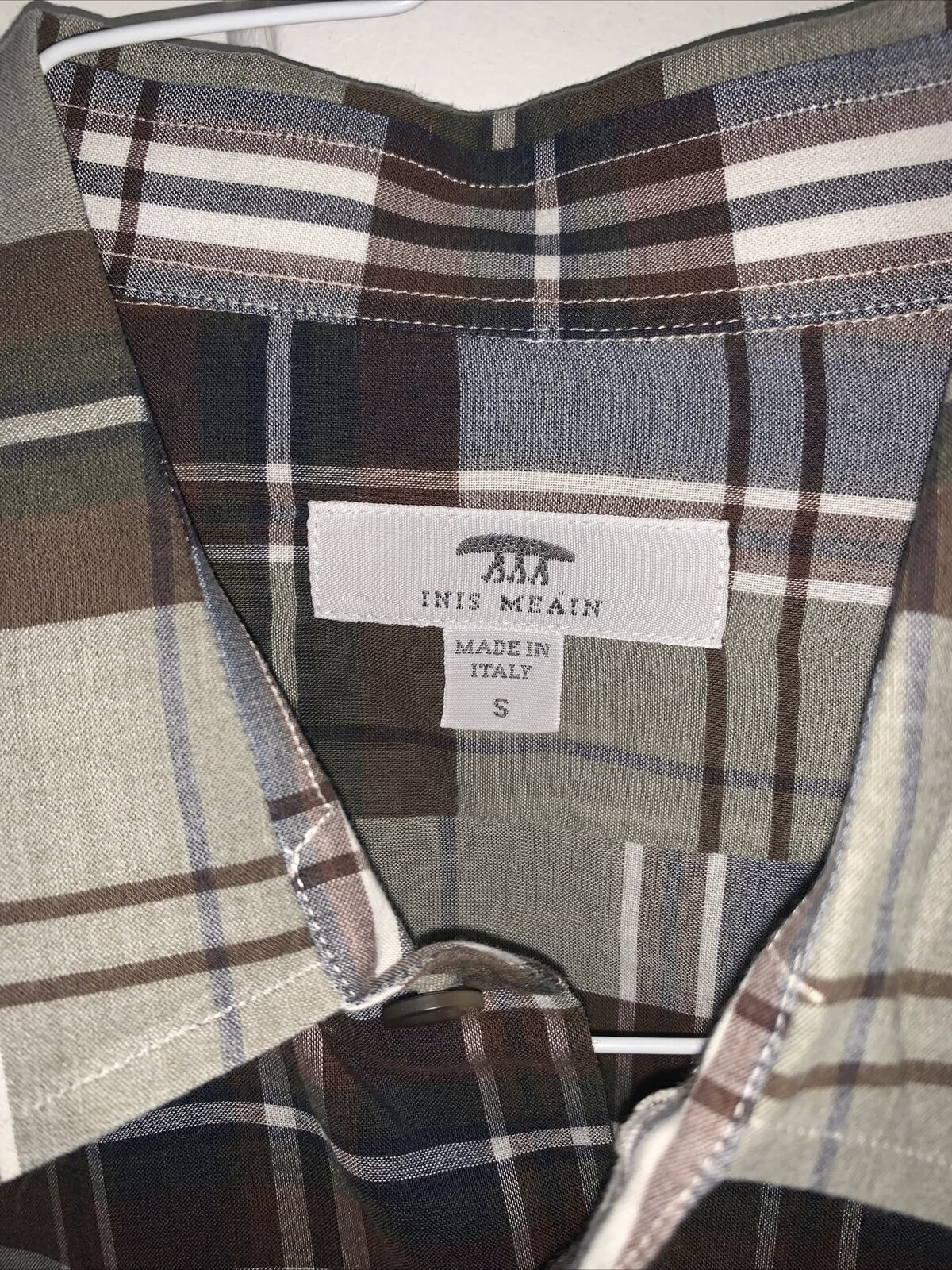 Mens INIS MEAIN Italy Plaid Button Down Dress Shi… - image 4