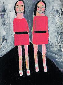 Twins Girls Walking to School Original Figure Painting Katie Jeanne Wood