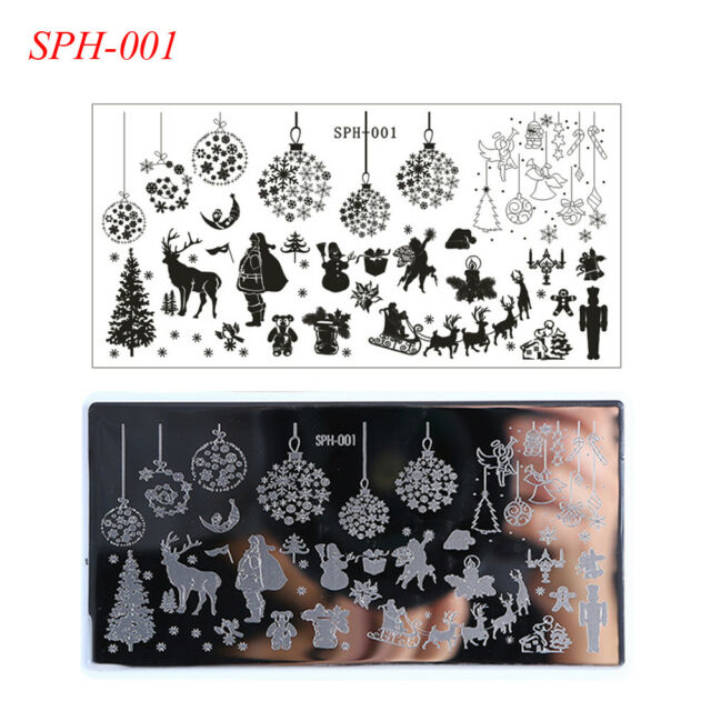 Christmas Nail Stamping Stamp Plates Halloween Theme Manicure Sph ...