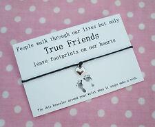 True Friends Footprints Heart Charm Wish Friendship Bracelet Gift & Envelope