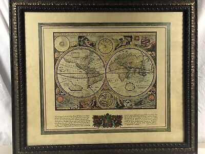 Old World Map Of The World Print Painting 23x27 Antique Framed Ready To Hang Art Ebay