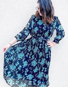 ZARA MIDI FLORAL PRINTED DRESS WITH PLEATED SKIRT ACCORDION FLOWING VOLUMINOUS S