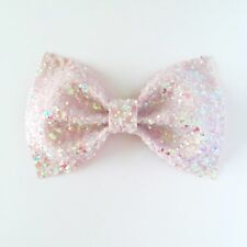 Pale Pink Glitter Bow Hair Slide, Christmas Stocking Filler 30 cols available