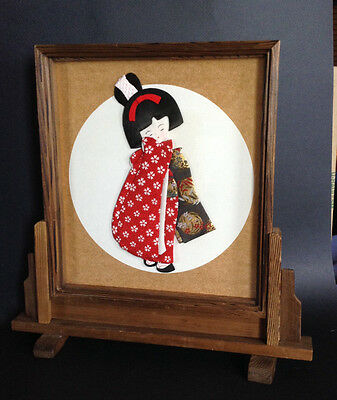 Vintage Fabric Collage Geisha Doll In Standing Wooden Frame And ...