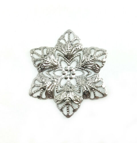 24 Silver Plated 35x30mm Snowflake Filigrees Findings 61760