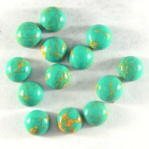 Green Copper Turquoise 6mm Cabochon Round Loose Gemstones