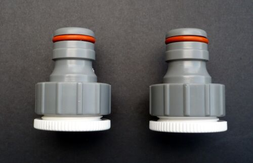 """Pack of 2 3//4/"""" /& 1/"""" BSP Thread Threaded Tap Connectors for 3//4/"""" /& 1/"""" Hose"""