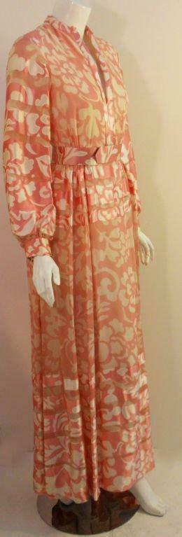 CEIL CHAPMAN 1960s Pink and White Silk Chiffon Go… - image 3