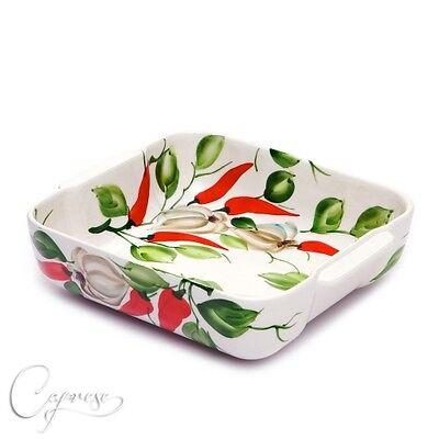 Bassano Ceramica Sformato Forme Casseruola Chili Con Motivo Aglio Dall'italia Nuovo-