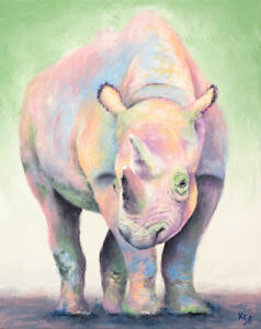 Rhino-Art-Print-on-PAPER-or-CANVAS-of-Rhinoceros-Painting-by-Krystle-Cole