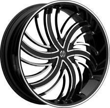 24 Inch 24x9 Massiv Tsunami Black Machined Wheels Rims 5x45 5x1143 30