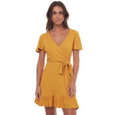 New Swell Women's Indie Wrap Dress V-Neck Cotton Jersey Spandex Yellow