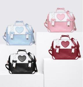 Image is loading Sweet-Pink-Kawaii-Heart-Itabag-Backpack-Shoulders-Bag- c75ef282b