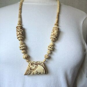 Vintage-Antique-Ivory-Hand-Carved-Egyptian-Style-Elephant-Necklace