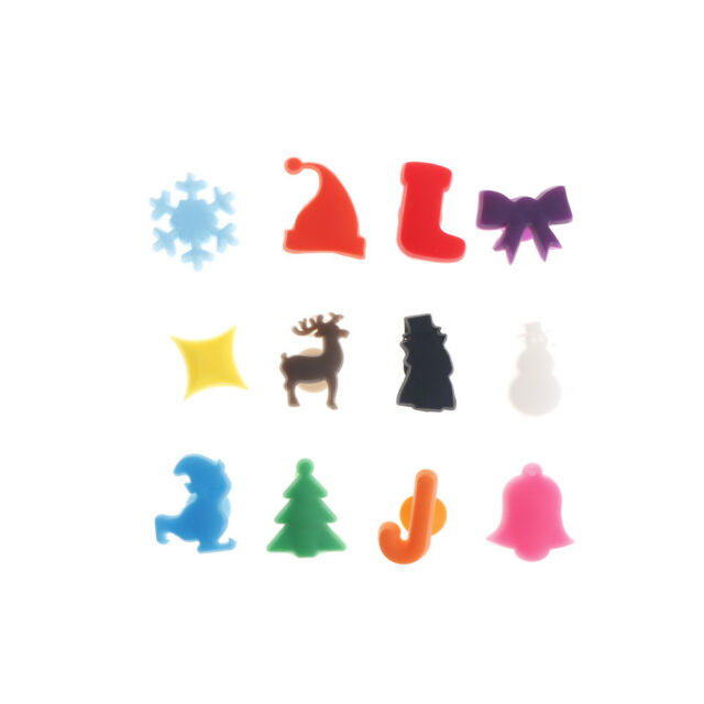 12x Christmas Decor Silicone Suction Cup Wine Glass Recognizer Label Marker JH