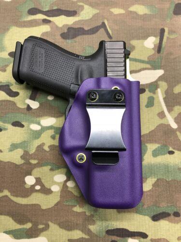 Purple /& Flo Yellow Kydex IWB Holster for Glock 19//23 w//Adjustable Retention