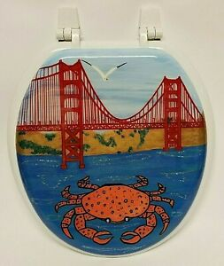 Incredible Details About Bemis Molded Wood White Finish Round Toilet Seat 400 000 Golden Gate Bridge Crab Lamtechconsult Wood Chair Design Ideas Lamtechconsultcom