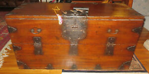 Antique-Rare-Japanese-Ship-039-s-Open-Front-Chest-Trunk-Meiji-Period