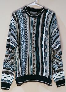 Vintage-1980s-Le-Tigre-Bill-Cosby-Pulli-Braun-Blau-Geometrische-Herren-Medium-Acryl