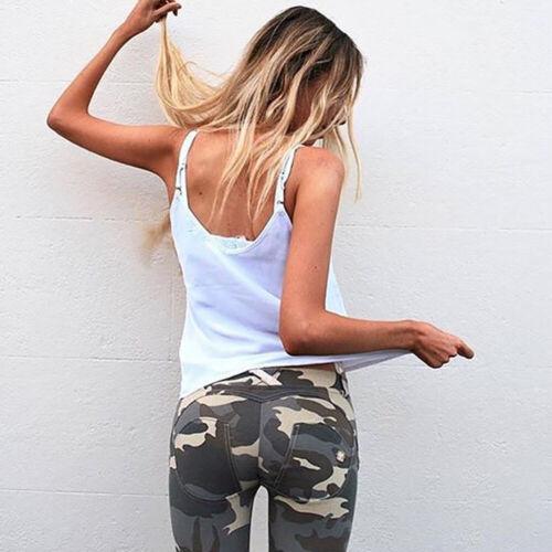 Damen Camouflage Leggings Treggings Jogginghose Push Up Stretch Sporthose Hosen