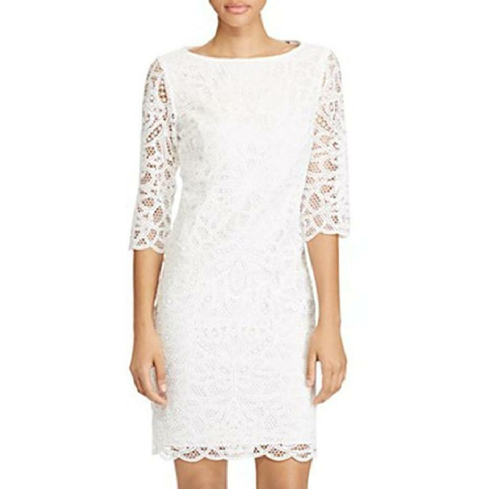 Lauren Ralph Lauren Scalloped Lace Dress, Weiß, 6