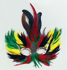 Tropical Coloured Feather Eye Mask Masquerade Ball Peacock Fancy Dress