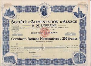 HonnêTe Société D'alimentation D'alsace & De Lorraine-action 250 Francs - 1946-strasbourg-n 250 Francs-1946-strasbourg Fr-fr Afficher Le Titre D'origine