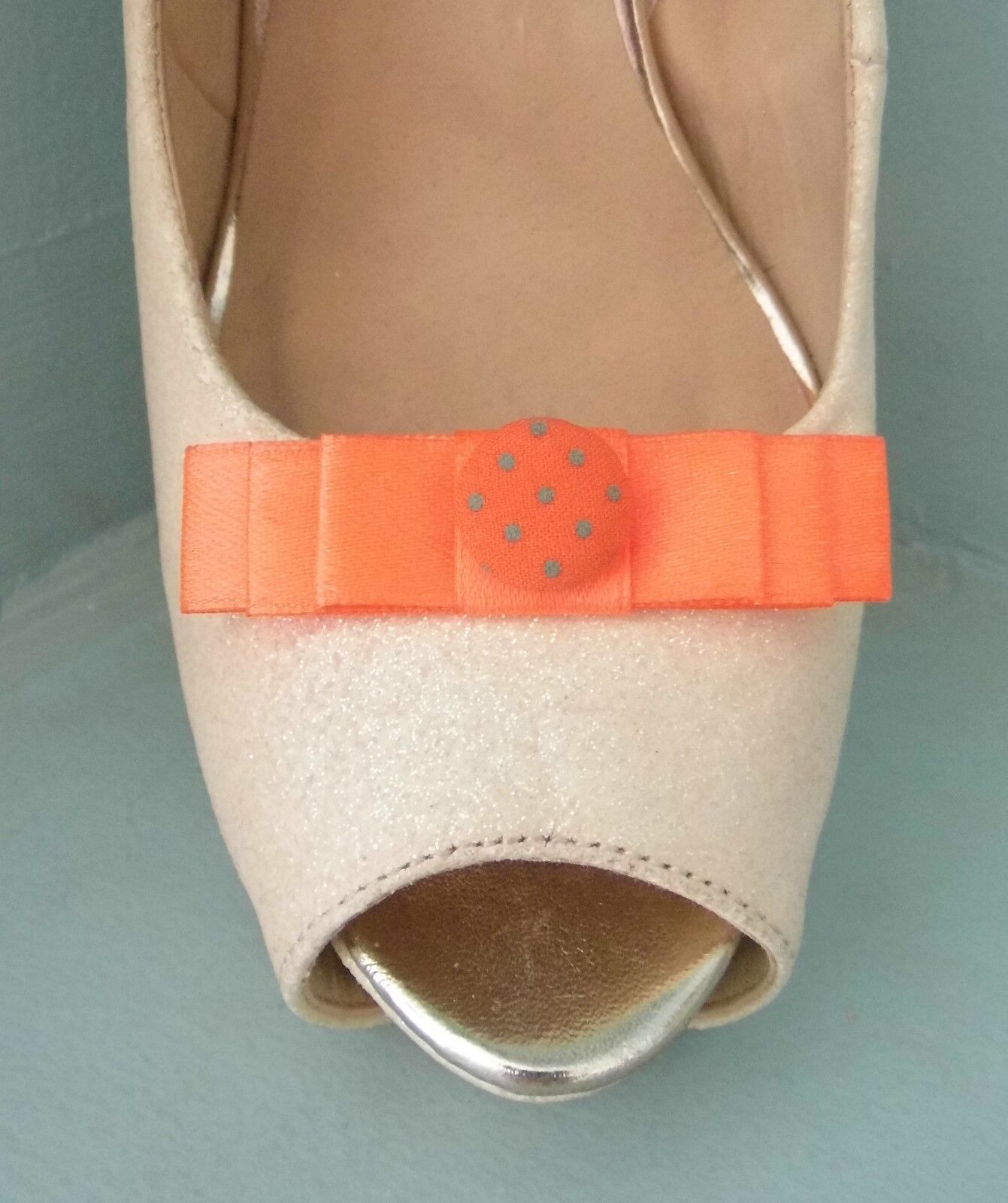 2 Small Burnt Orange Bow Clips for Shoes with Spotted Button Centre