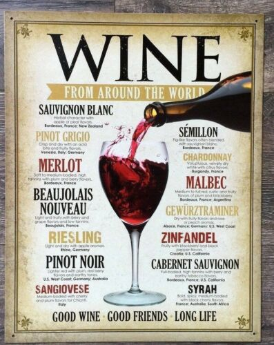 Wine Around World Metal Ad Sign Picture Glass Bar Kitchen Winery  Decor Gift