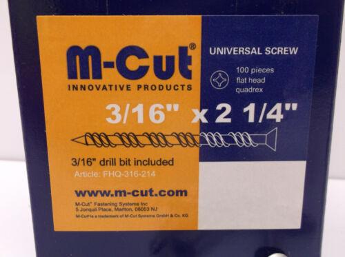 "100 Flat Head Concrete Masonry  Anchor Screw 3//16/"" x 2-1//4/"" w// Drill Bit B55"