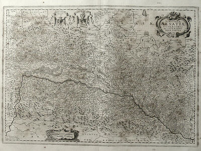 Frankreich Elsass Alsatiae Strassburg Janssonius Karte Kartusche Wappen 1645