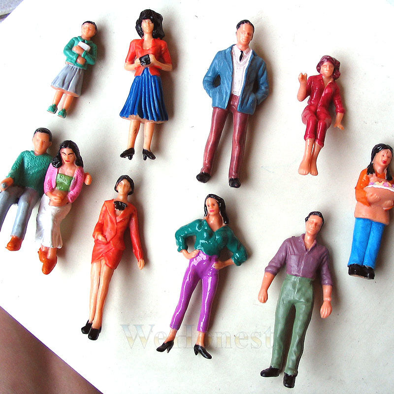 100 pcs G gauge 1 24 painted People 10 different Poses Passengers Model Figures