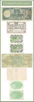 Gov't Of Fiji 4 Note Lot Including 1934 King George V 5 Shilling + 1942 1p + 2/