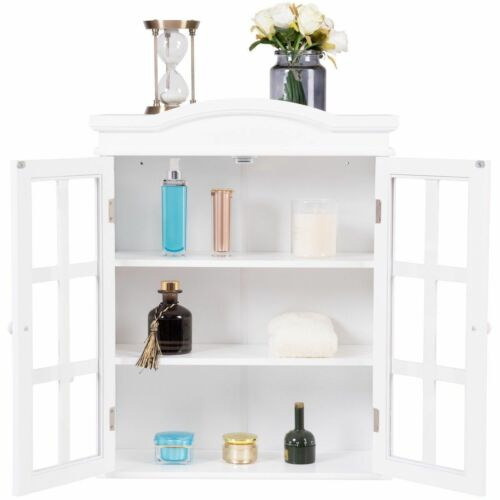 Bathroom Storage Cabinet 2 Glass Doors Shelves Wall Mount Cupboard Vintage White