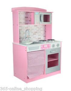 Das Bild Wird Geladen Gross Maedchen Kinder Pink Holz Spiel Kueche  Rollenspiel