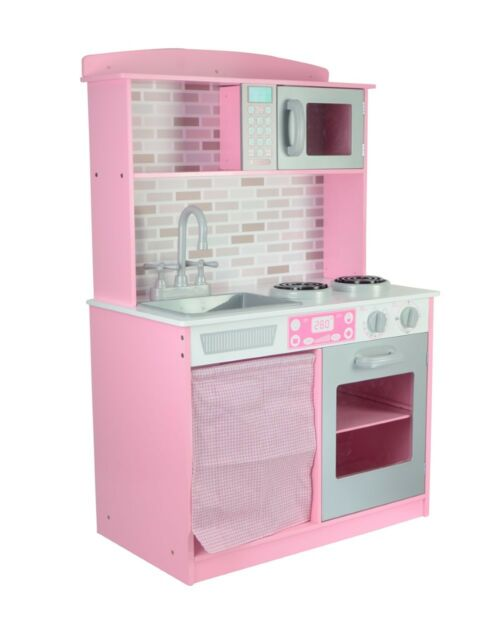434dcabe8ee92 Large Big Kids Childrens Pink Girls Role Wooden Play Kitchen Pretend Cooking