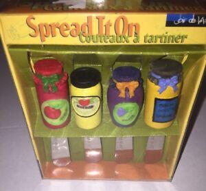 Spread-It-On-Cheese-Spreaders-Set-Veggie-Dip-Knives-Joie-De-Vivre-Jelly-Jars