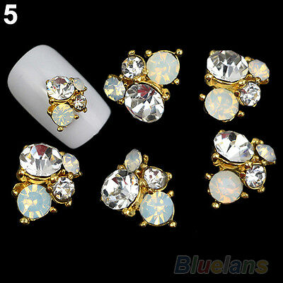 10Pcs 3D Metallic Rhinestones Crystal Nail Art Tips Studs Shiny Phone Decor DIY