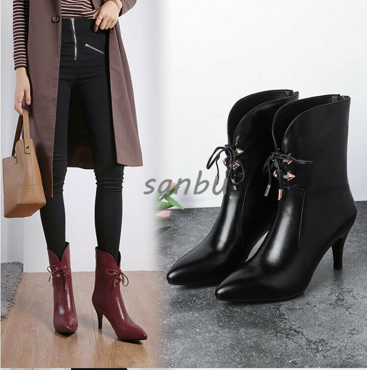 Women Ankle Boots Leather shoes Chunky Heels Pointed Toe Zipper Lace Up Fashion