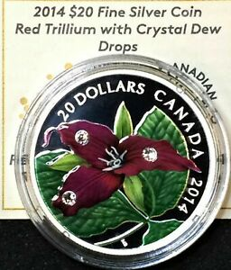 2014-Red-Trillium-with-Crystal-Dew-Drops-20-Fine-Silver-Coin