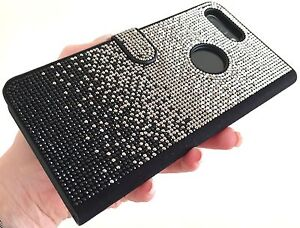 Faded Black Made with Swarovski Crystals Shiny Bling Card Wallet Case Galaxy S8